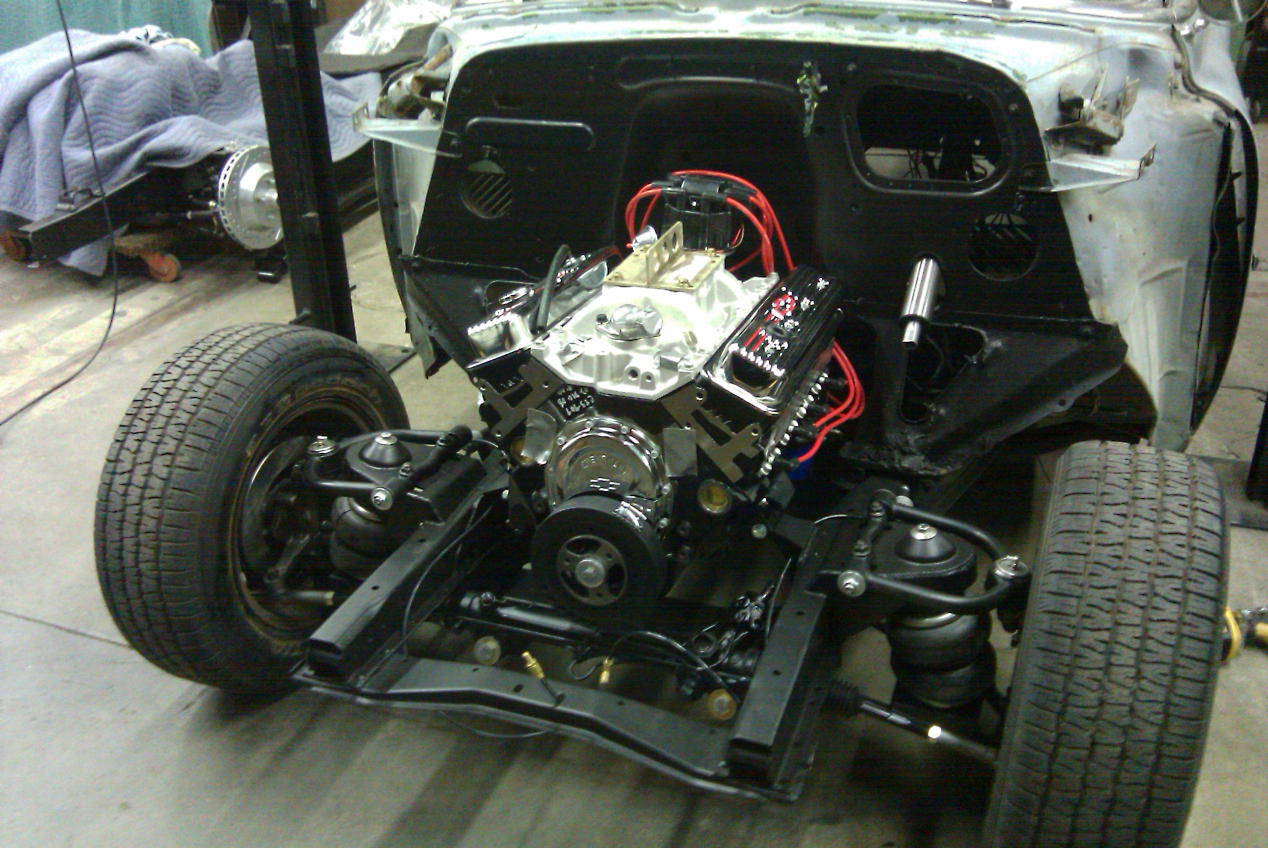 We installed a TCI front suspension kit, Chevy 350 crate engine and disc  brakes on
