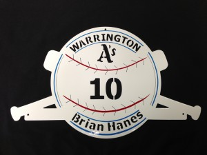 Baseball sign we made. Pinstriped by Tom Mcweeney.