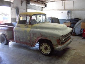 1957 Chevy Truck in for a full resto-custom job.