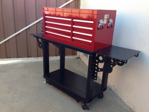 Custom work bench to hold toolbox and vice.