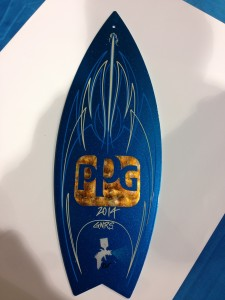 PPG painted Panel Jammers™ Surf Board and striped by Jeff Styles.