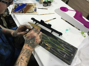 Work in progress on the Hangsters Pinstripe Brush Business Card Holder. Striping by Cory Cowger